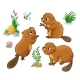 Vector Set with Isolated Beavers - GraphicRiver Item for Sale
