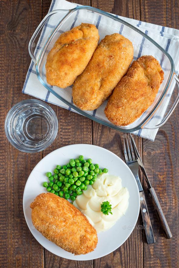 Chicken Kiev, ukrainian cuisine. Chicken cutlets in bread crumbs - Stock Photo - Images