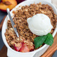 Plum crumble pie or plum crisp with oats and spices, served with - PhotoDune Item for Sale