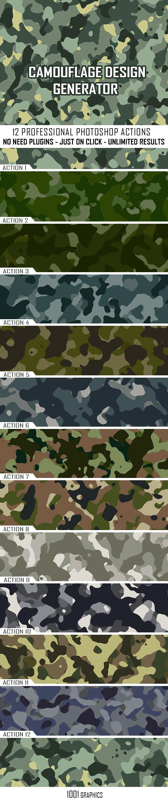 Camouflage Texture Generator - 12 PS Actions  Vol.1 - Utilities Actions
