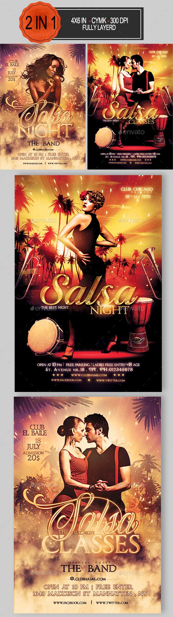Salsa Party Flyer Bundle - Clubs & Parties Events