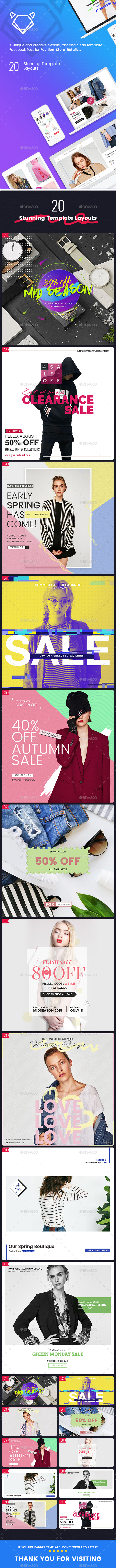 Fashion Facebook Banners Ad - 20PSD [02 Sizes Each] - Banners & Ads Web Elements