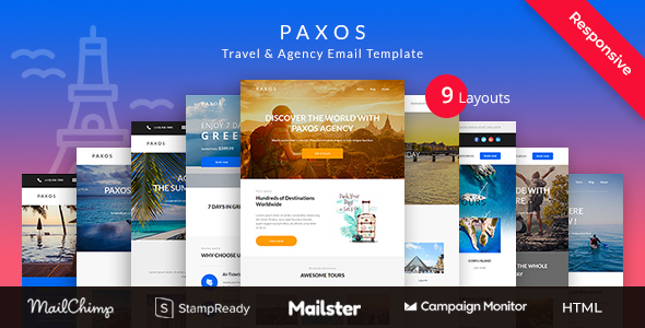 Paxos - Responsive Travel Agency Email Newsletter Template Stampready Builder + Mailchimp + Mailster