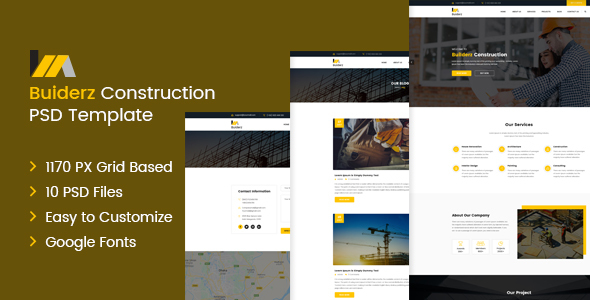 Builderz - Construction PSD Template - PSD Templates