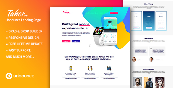 Taher – Responsive Unbounce Landing Page Template