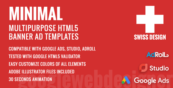 Swiss Design - Minimal Animated HTML5 Banner Ad Templates (GWD) - CodeCanyon Item for Sale