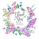 Vector Vintage Floral Greeting Card with Pink - GraphicRiver Item for Sale