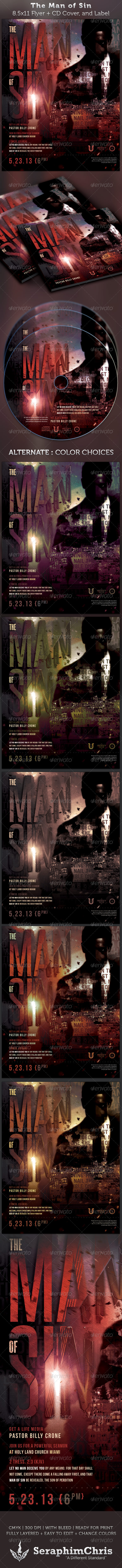 The Man of Sin Full Page Flyer and CD Cover - Church Flyers