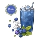 Blueberry Smoothie in Sketch Style Isolated - GraphicRiver Item for Sale