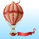 Vector Flying Hot Air Balloon with Vintage Decor