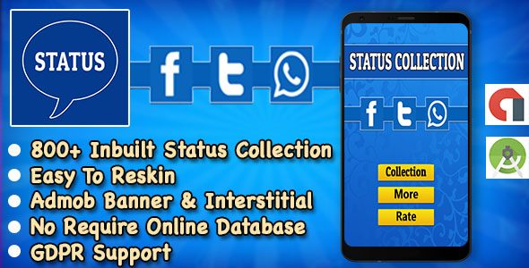 Status App + Best Status Collection For WhatsApp + Instagram + Facebook + Twitter + Android Studio            Nulled
