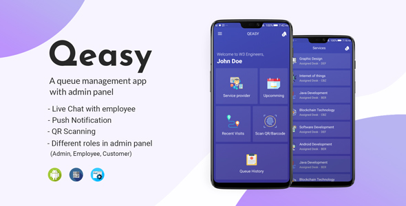 Qeasy - A queue management app with admin panel - CodeCanyon Item for Sale