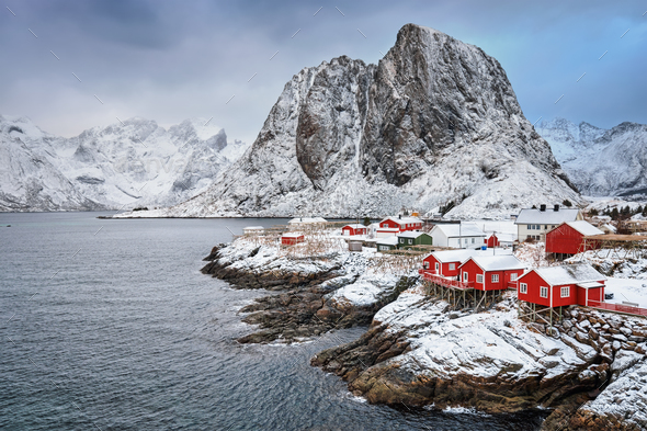 Hamnoy fishing village on Lofoten Islands, Norway - Stock Photo - Images