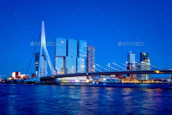 Erasmus Bridge, Rotterdam, Netherlands - Stock Photo - Images