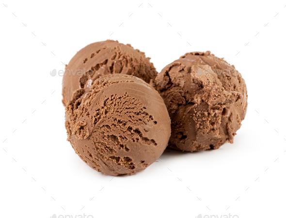 Three scoops of chocolate ice cream isolated white - Stock Photo - Images