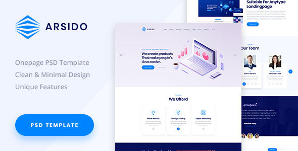 Arsido - One Page Creative Agency PSD Template - Creative PSD Templates