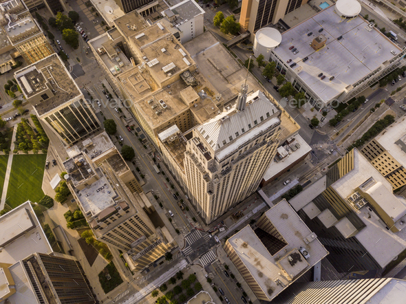 Dramatic close aerial view of skyscrapers in Oklahoma City, stra - Stock Photo - Images