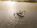 Aerial view of shrimp boat off the coast of South Carolina at su - PhotoDune Item for Sale