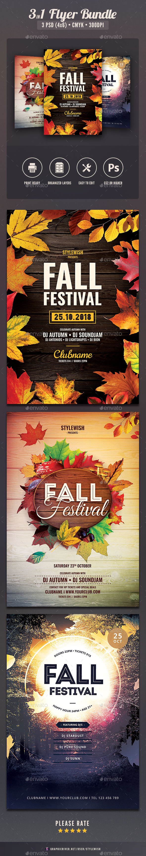 Fall Festival Flyer Bundle - Clubs & Parties Events