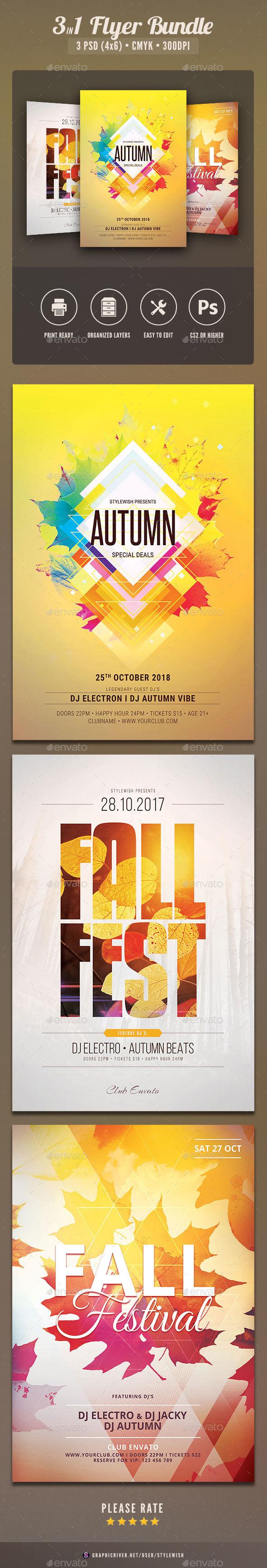 Autumn Flyer Bundle Vol.03 - Clubs & Parties Events