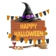 Vector Happy Halloween Poster Witch Hat and Broom - GraphicRiver Item for Sale