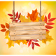 Autumn Background with Leaves and Wooden Board - GraphicRiver Item for Sale