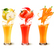 Set of Fruit in Juice Splashes in Glass Vector - GraphicRiver Item for Sale