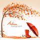 Autumn Background of Tree and Umbrella with Rain Boots - GraphicRiver Item for Sale