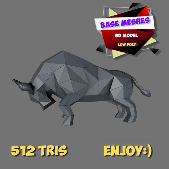 3d bull low poly basemeshes - 3DOcean Item for Sale