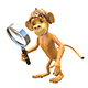 3D Illustration Monkey with Magnifier - GraphicRiver Item for Sale