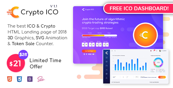 Crypto ICO - Cryptocurrency Website Landing Page HTML + Dashboard Template