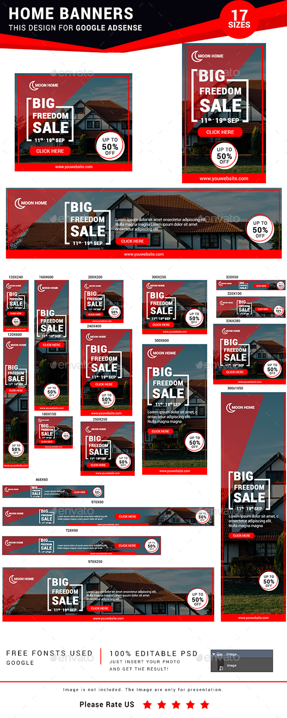 Home Banner Set (Real Estate) - Banners & Ads Web Elements