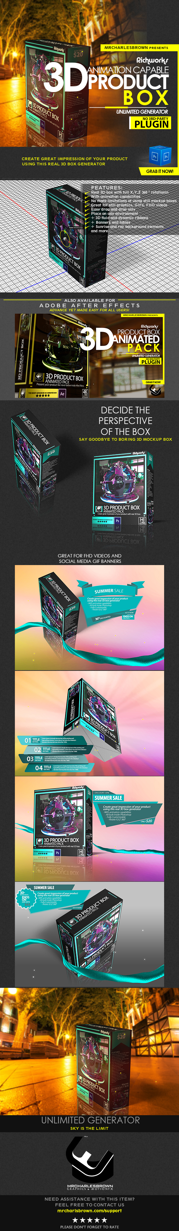 Richworks 3D Product Box For Photoshop - Photo Effects Actions