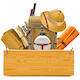 Vector Wooden Board with Safari Accessories
