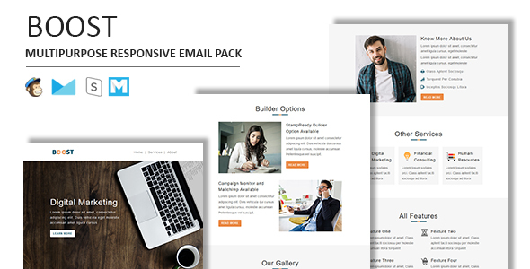 Boost - Multipurpose Responsive Email Template With Stamp Ready Builder Access - Newsletters Email Templates