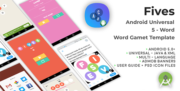 Fives | Android Universal Word Game Template - CodeCanyon Item for Sale