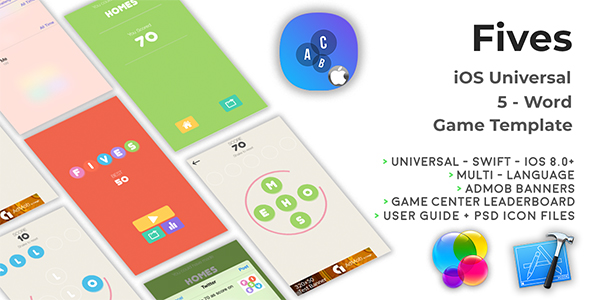 FIVES | iOS Multi Language Word Game Template (Swift) - CodeCanyon Item for Sale