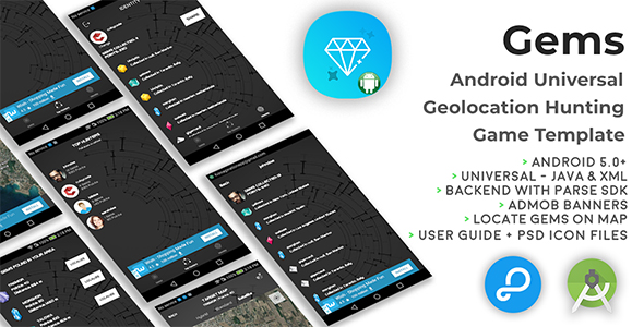 Gems | Android Universal Geolocation Hunting Game Template - CodeCanyon Item for Sale