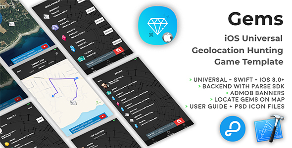 Gems | iOS Universal Geolocation Hunting Game Template (Swift) - CodeCanyon Item for Sale