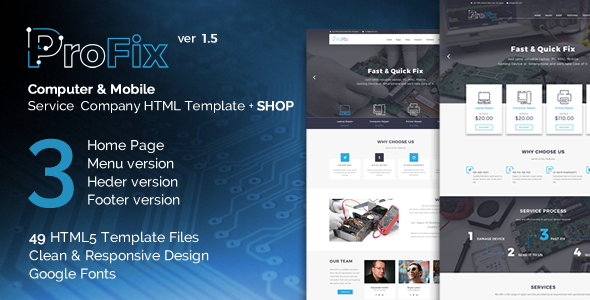 ProFix – Computer & Mobile Phone Repair Service Company + Shop HTML5 Template Free Download