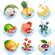 Collection of Fruit in Water Splash Icons - GraphicRiver Item for Sale