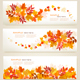 Set of Abstract Autumn Banners With Colorful Leaves - GraphicRiver Item for Sale