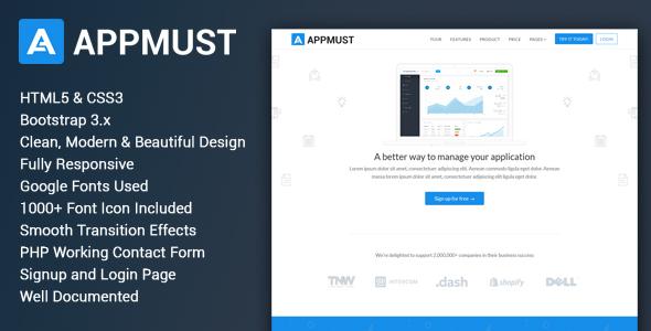 Appmust - Responsive App Landing Page Template by webmechanicx