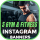 Instagram Fitness and Gym Banner - 5 Designs - GraphicRiver Item for Sale