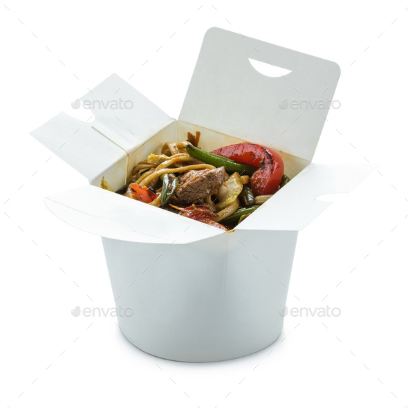 Noodles with beef and with vegetables in take-out box over white - Stock Photo - Images