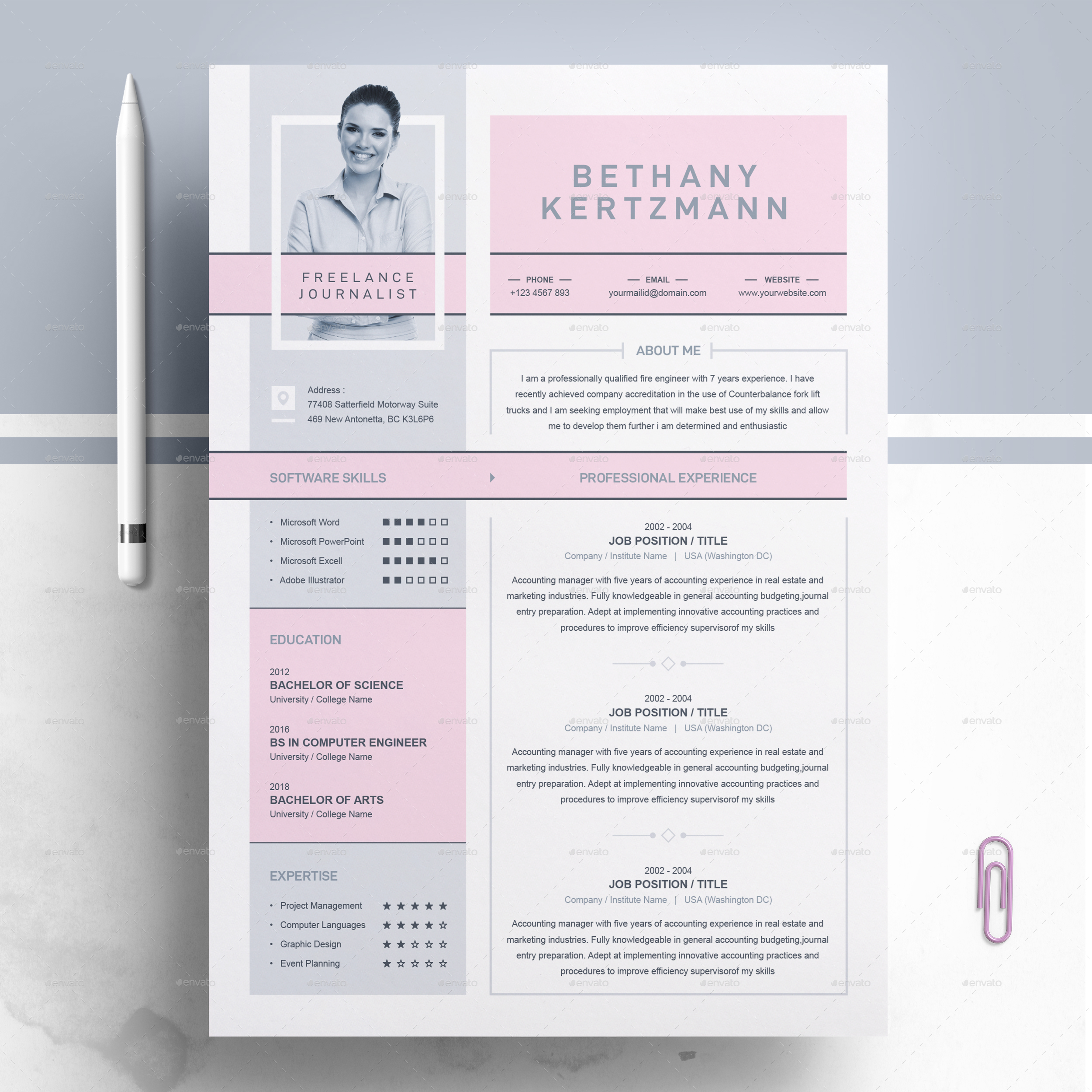 creative cv    resume design for freelance and journalist