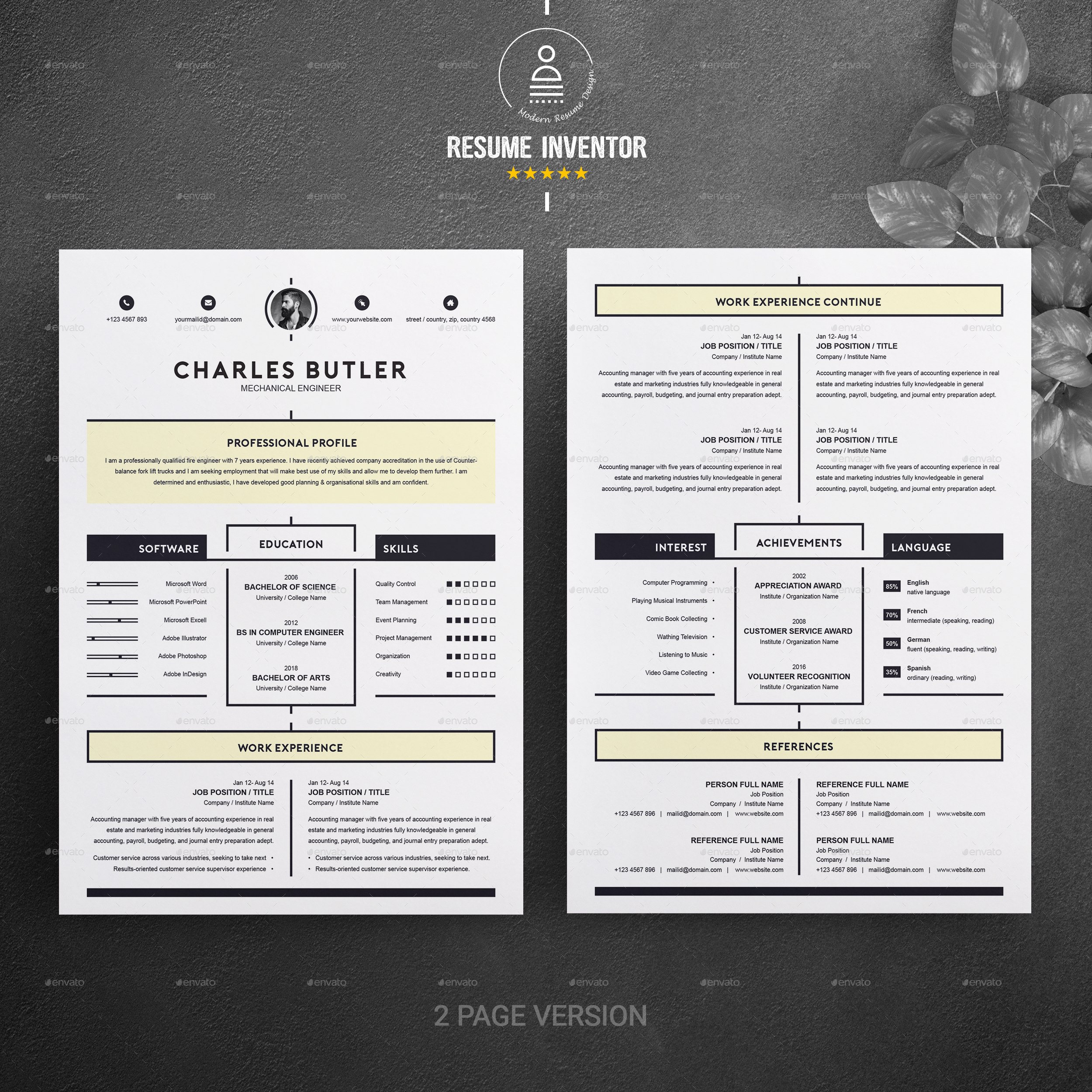 2 Page Cv Template Free Download Best Resume Examples