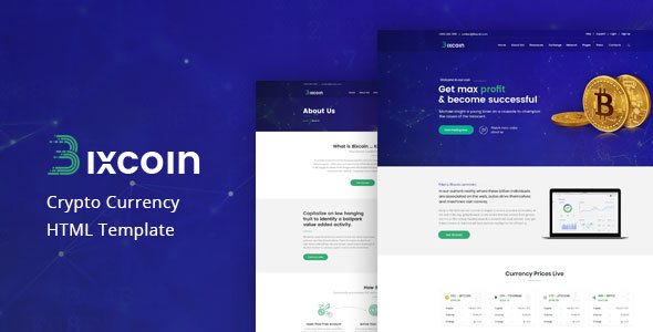 Bixcoin - All in one Cryptocurrency HTML Template - Technology Site Templates