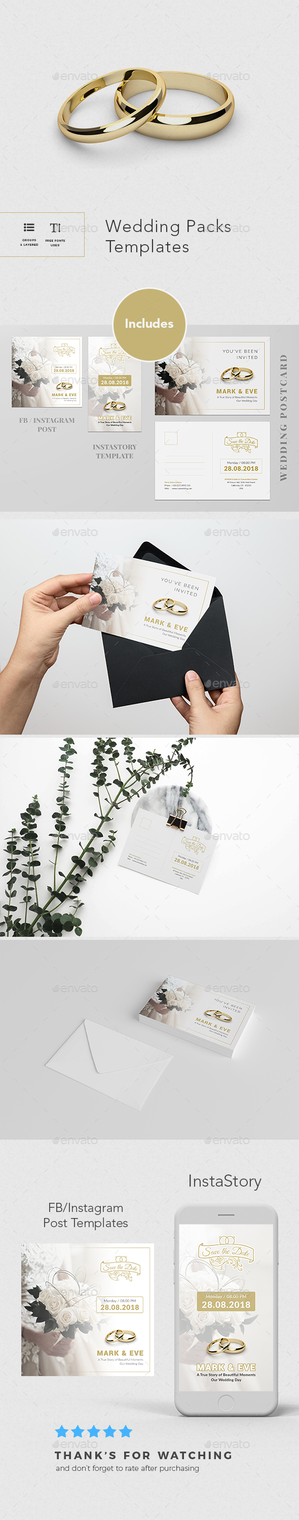 Wedding Postcard + Extras - Cards & Invites Print Templates