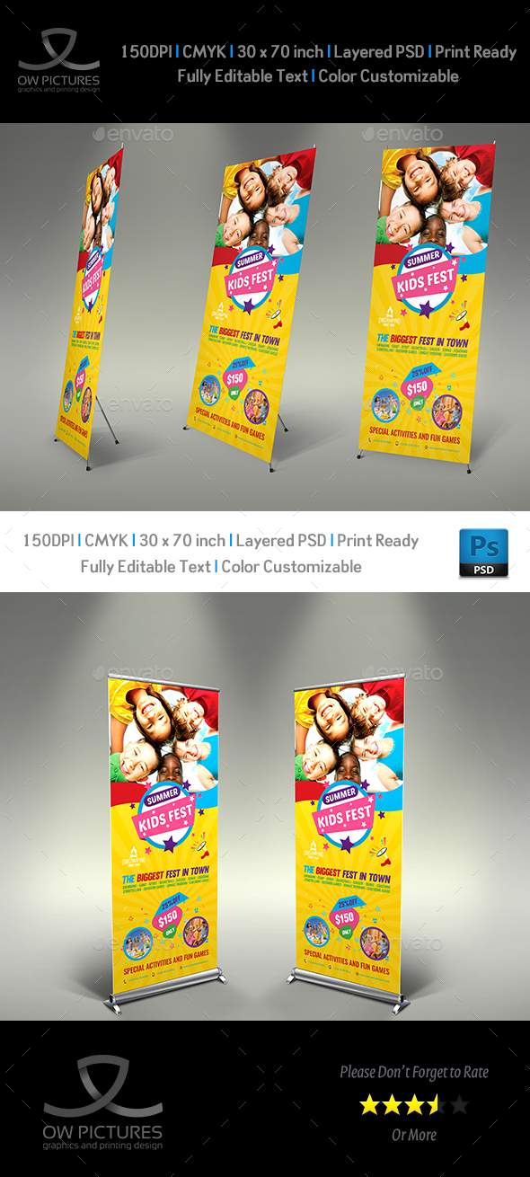 Kids Summer Camp Signage Banner Roll Up Template Vol.2 - Signage Print Templates